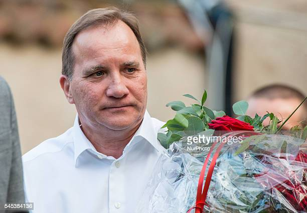 Sweden's Prime Minister Stefan Löfven speaks to the press after his speech at Almedalen week in Visby on July 5 2016