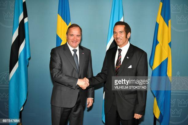 Sweden's Prime Minister Stefan Lofven and Botswana's President Seretse Ian Khama shake hands on June 19 2017 at the government headquarters in...