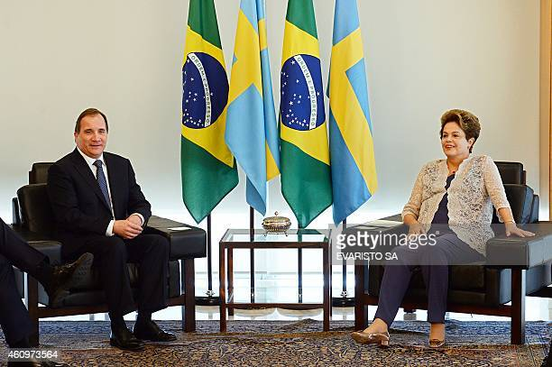 Sweden's Prime Minister Stefan Lofven and Brazil's President Dilma Rousseff hold a bilateral meeting on the first day of Rousseff's second term at...