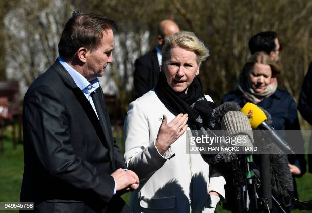 Sweden's Prime Minister Stefan Lofven and Sweden's Foreign Minister Margot Wallstrom speak to the press during the annual informal working meeting...