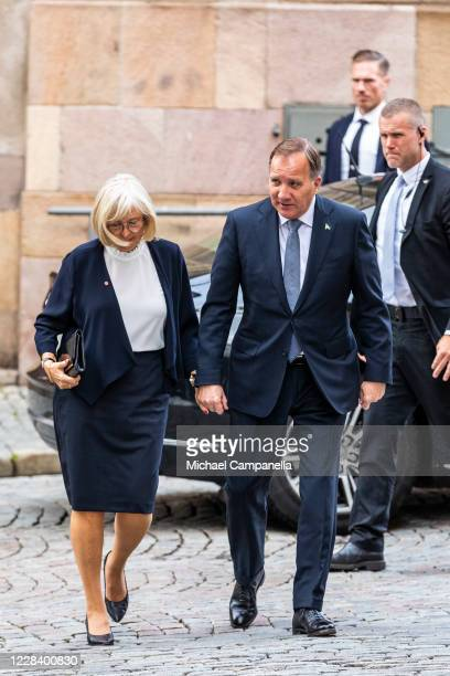 Sweden's Prime Minister Stefan Lofven and wife Ulla Lofven attend a church service at Stockholm Cathedral in connection with the opening of the...