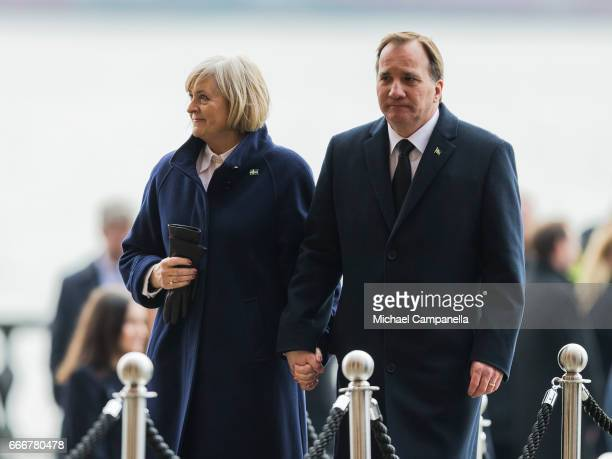 Sweden's Prime Minister Stefan Lofven and wife Ulla Lofven leaving the city of Stockholm's official ceremony for the victims of the recent terrorist...