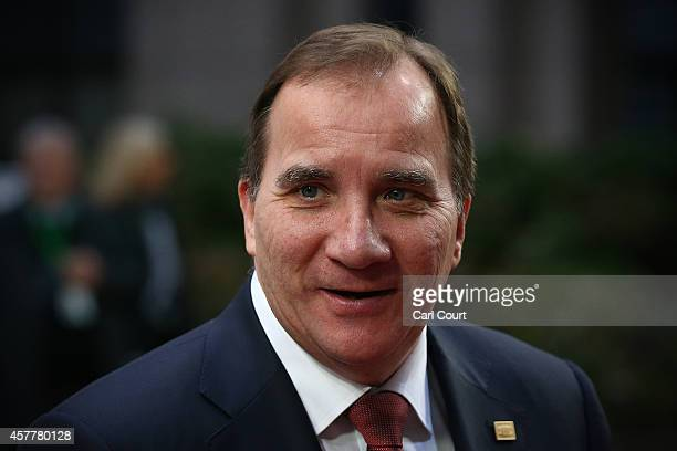 Sweden's Prime Minister Stefan Lofven arrives at the headquarters of the Council of the European Union on the second day of a twoday European Council...