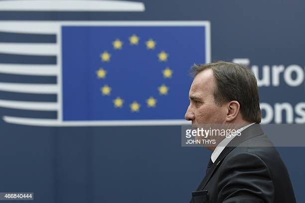 Sweden's Prime minister Stefan Lofven arrives for an European Council summit on March 19 2015 at the Council of the European Union Justus Lipsius...
