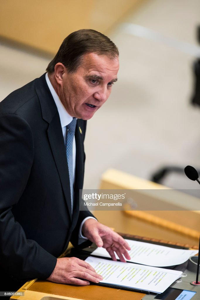 Sweden's prime minister Stefan Lofven attends the opening of the Parliamentary session on September 12, 2017 in Stockholm, Sweden.