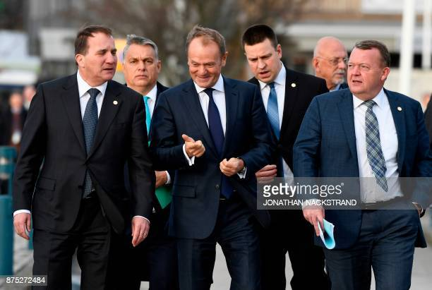 Sweden's Prime minister Stefan Lofven, Hungary's Prime minister Viktor Orban, European Council President Donald Tusk, Estonia's Prime minister Juri...