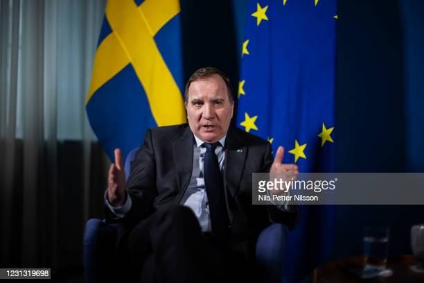 Swedens Prime Minister Stefan Lofven is pictured during an interview on February 17, 2021 in Stockholm, Sweden.