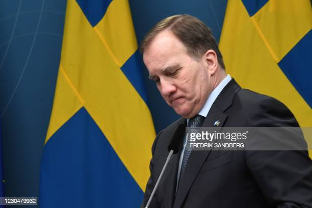 Sweden's Prime Minister Stefan Lofven speaks at a press conference after the parliament adopted a temporary pandemic law on January 8, 2021 in...