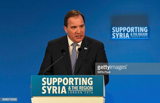 Sweden's Prime Minister Stefan Lofven speaks at the 'Supporting Syria Conference' at The Queen Elizabeth II Conference Centre on February 4 2016 in...