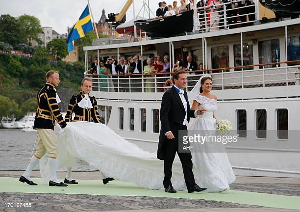 Sweden's Princess Madeleine and and her husband Christopher O'Neill arrive on June 8 2013 to the boat that will take them to Drottningholm Palace...