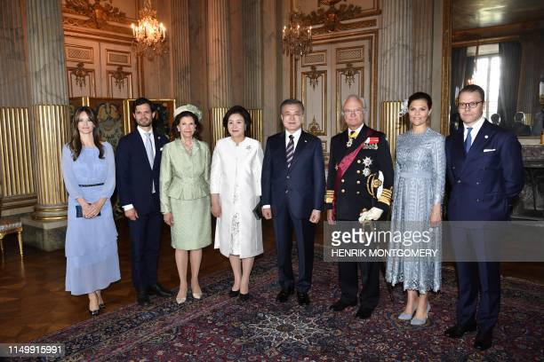 Swedens Princess Sofia, Prince Carl Philip, Queen Silvia of Sweden, South Korea's First Lady Kim Jung-sook, King Carl XVI Gustaf of Sweden, Crown...