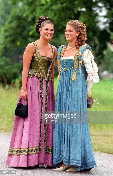 Sweden''s Princess Victoria and her sister Princess Madeleine arrive at an evening function as part of a two day celebration to mark the 25th wedding...