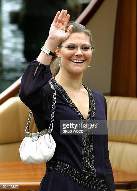 Sweden's Princess Victoria waves to members of the Swedish community as she arrives by launch at the Australian National Maritime Museum in Sydney 18...