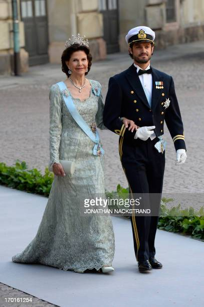 Sweden's Queen Silvia and Prince Carl Philip arrive on June 8 2013 to the Royal chapel for Princess Madeleine of Sweden and Christopher O'Neill 's...