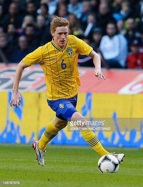 Sweden's Rasmus Elm dribbles during the friendly football match between Sweden and Serbia at the Rasunda Stadium in Stockholm on June 5 2012 Sweden...