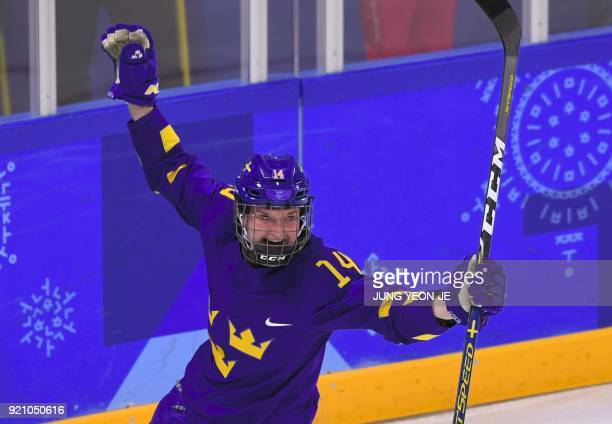 TOPSHOT Sweden's Sabina Kuller celebrates a goal in the women's playoff classifications ice hockey match between the Unified Korea team and Sweden...