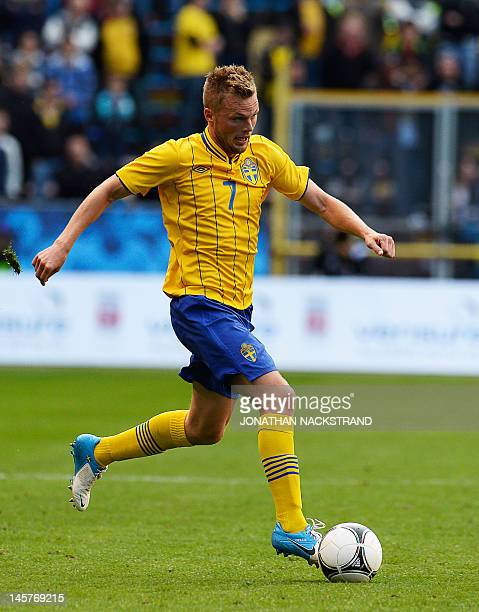 Sweden's Sebastian Larsson dribbles during the friendly football match between Sweden and Serbia at the Rasunda Stadium in Stockholm on June 5 2012...