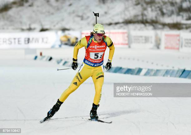 Sweden's Sebastian Samuelsson competes in the Single Mixed Relay event of the IBU Biathlon World Cup in Ostersund Sweden on November 26 2017 / AFP...