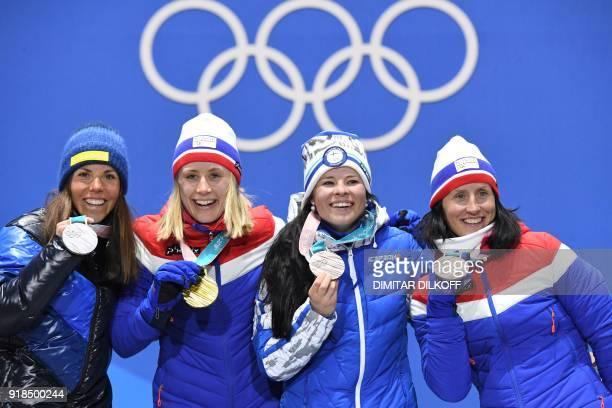 TOPSHOT Sweden's silver medallist Charlotte Kalla Norway's gold medallist Ragnhild Haga and bronze medallists Finland's Krista Parmakoski and...