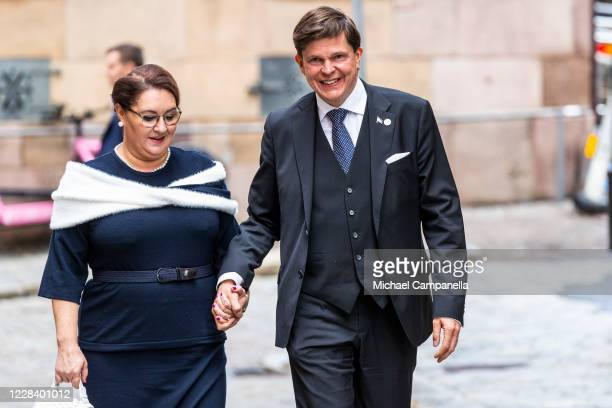 Sweden's speaker of the parliament Andreas Norlen and wife Helena Norlan attend a church service at Stockholm Cathedral in connection with the...
