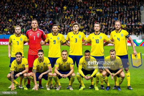Sweden's starting eleven during the UEFA Nations League B group two match between Sweden and Russia at Friends Arena on November 20 2018 in Solna...