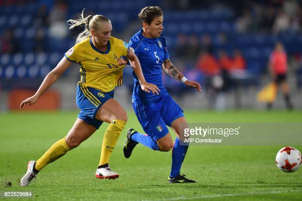 Sweden's Stina Blackstenius vies with Italy's Barbara Bonansea during the UEFA Women's Euro 2017 football match between Sweden and Italy at De...