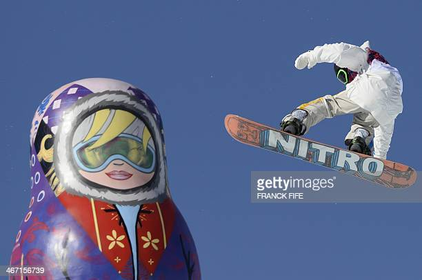 Sweden's Sven Thorgren competes in the Men's Snowboard Slopestyle qualifications at the Rosa Khutor Extreme Park during the Sochi Winter Olympics on...
