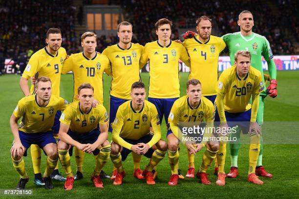 Sweden's team players Sweden's forward Marcus Berg Sweden's midfielder Emil Forsberg Sweden's midfielder Jakob Johansson Sweden's defender Victor...