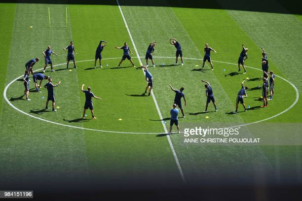TOPSHOT Sweden's team players take part in a training session of the Sweden national football team at the Ekaterinburg Arena in Yekaterinburg on June...