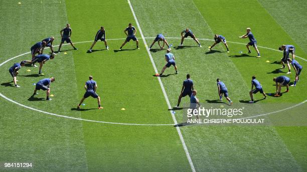 Sweden's team players take part in a training session of the Sweden national football team at the Ekaterinburg Arena in Yekaterinburg on June 26 2018...