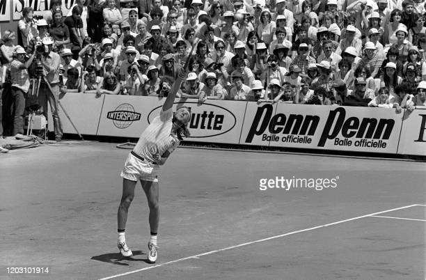 Sweden's tennis player Bjorn Borg serves during the men's single final against Argentina's Guillermo Vilas at the French tennis Open of Roland Garros...