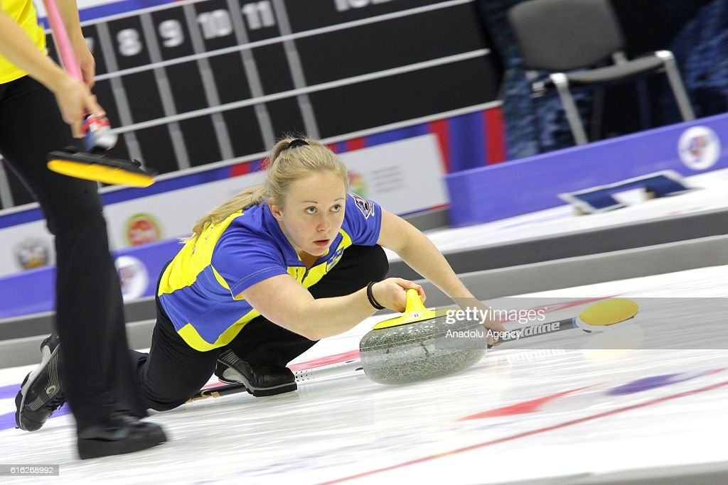 Sweden's third Jennie Waahlin delivers a stone during semi-finals the game between Sweden and Scotland within the World Mixed Curling Championship 2016 at the Sport Palace in Kazan, Russia on October 22, 2016.
