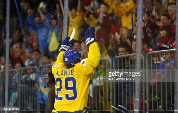 Sweden's William Nylander celebrates a goal during the IIHF Men's World Championship Ice Hockey semi-final match between Sweden and Finland in...