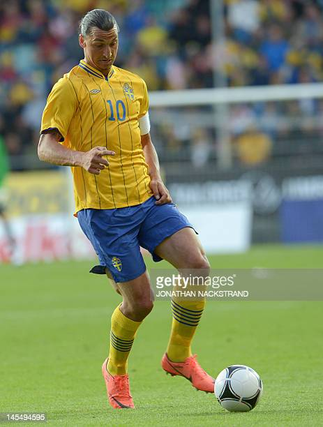 Sweden's Zlatan Ibrahimovic controls the ball during the international friendly football match between Sweden and Iceland at the Gamla Ullevi Stadium...