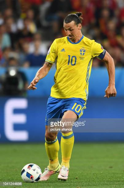 Sweden's Zlatan Ibrahimovic controls the ball during the UEFA Euro 2016 Group E soccer match between Sweden vs at the Stade de Nice in Nice France 22...