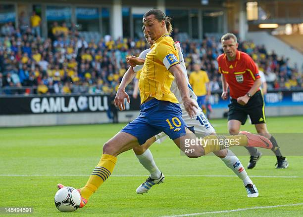 Sweden's Zlatan Ibrahimovic kicks the ball during the international friendly football match between Sweden and Iceland at the Gamla Ullevi Stadium in...