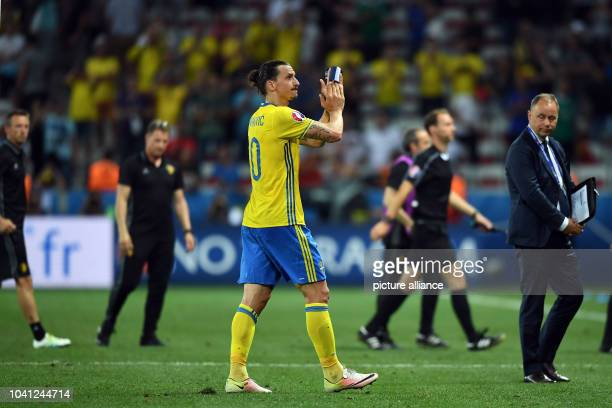 Sweden's Zlatan Ibrahimovic reacts after the UEFA Euro 2016 Group E soccer match between Sweden vs at the Stade de Nice in Nice France 22 June 2016...