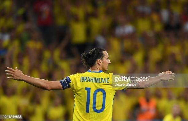 Sweden's Zlatan Ibrahimovic reacts during the UEFA Euro 2016 Group E soccer match between Sweden vs at the Stade de Nice in Nice France 22 June 2016...