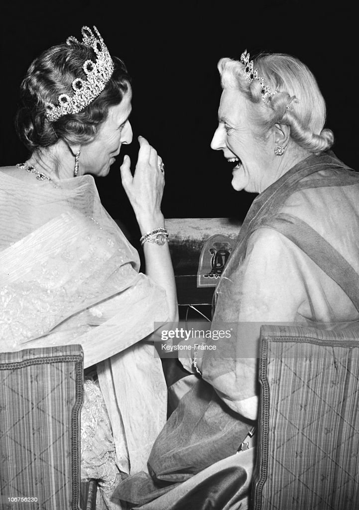 Sweden.Stockholm. Nobel Prize Ceremony. Queen Louise Of Sweden Speaking With Lady Churchill Who Represented His Husband For Nobel Literature Prize. December 1953. : News Photo