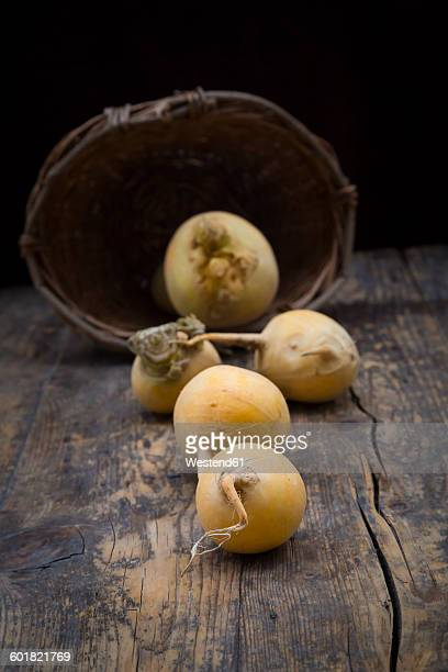 swedes on dark wood - rutabaga stock pictures, royalty-free photos & images