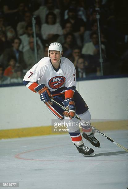 Swediah hockey player Stefan Persson of the New York Islanders skates on the ice during a game at Nassau Coliseum Uniondale New York April 1985
