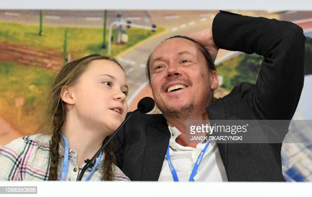 Swedish 15year old climate activist Greta Thunberg and her father Svante attend a press conference during the COP24 summit on climate change in...