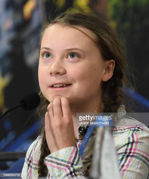 Swedish 15year old climate activist Greta Thunberg attends a press conference during the COP24 summit on climate change in Katowice Poland on...