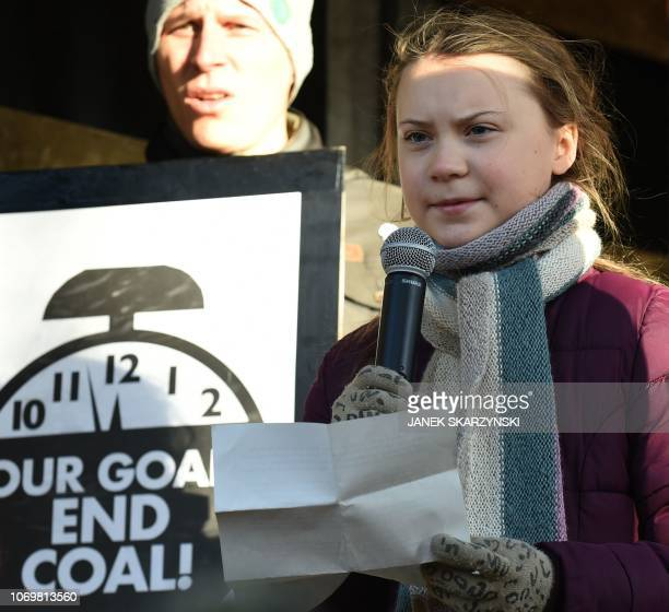Swedish 15year old climate activist Greta Thunberg speaks during a march for the climate on sidelines of the 24th Conference of the Parties to the...
