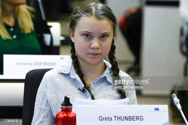 Swedish 16yearsold climate activist Greta Thunberg attends a meeting at the Civil Society For rEUnaissance at the EU Charlemagne Building in Brussels...