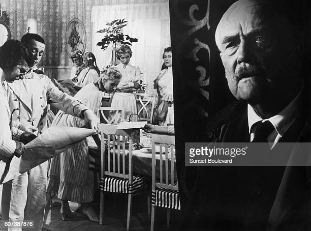 Swedish acotr Victor Sjostrom on the set of Smultronstället written and directed by Ingmar Bergman