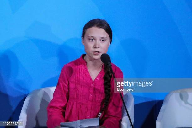 Swedish activist Greta Thunberg speaks during the United Nations Climate Action Summit in New York US on Monday Sept 23 2019 Heads of state from...