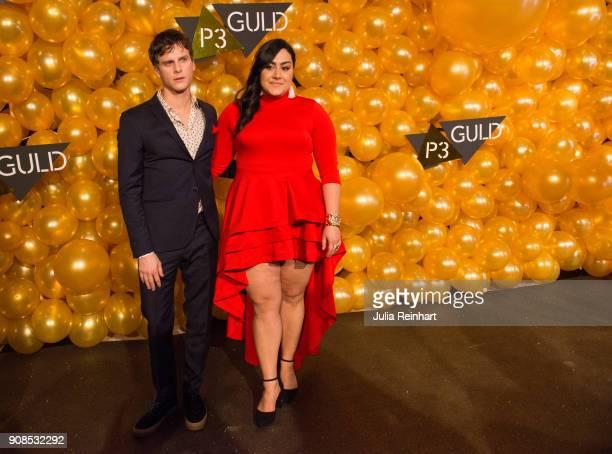 Swedish actor Adam Palsson and radio personality Tina Mehrafzoon the moderators of the award show arrive at the P3 Guld Gala Swedish Radio's...