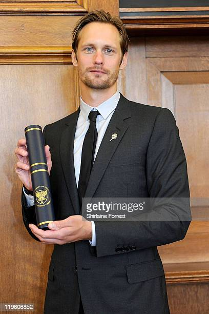 Swedish actor Alexander Skarsgard is presented with an Honorary Doctorate during a graduation ceremony at Leeds University on July 20 2011 in Leeds...