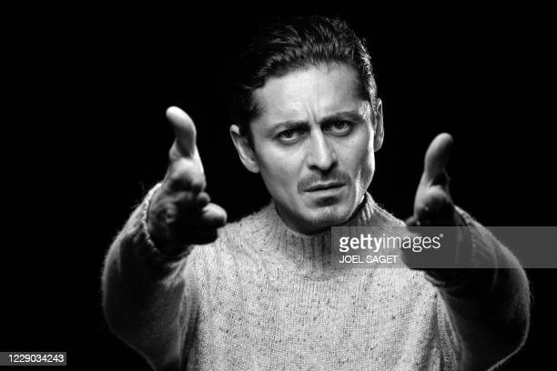 Swedish actor Alexej Manvelov poses for a photo session during the 3rd edition of the Cannes International Series Festival in Cannes, southern...